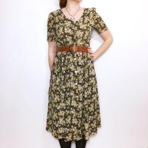 Vintage Georgiou Studio Button Up Floral Dress, 10